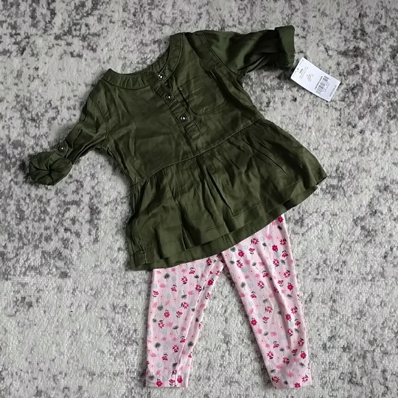Carter's Other - Carter's outfit, army green top and floral legging